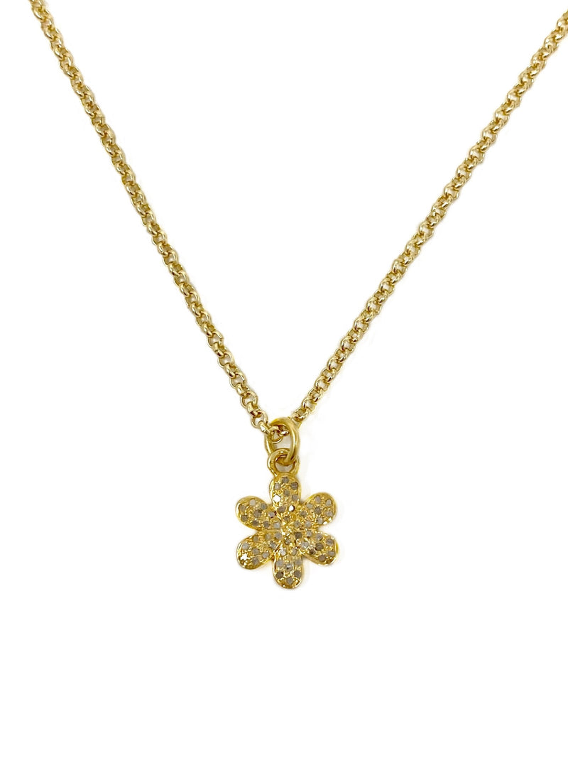 Diamond Daisy Charm Necklace