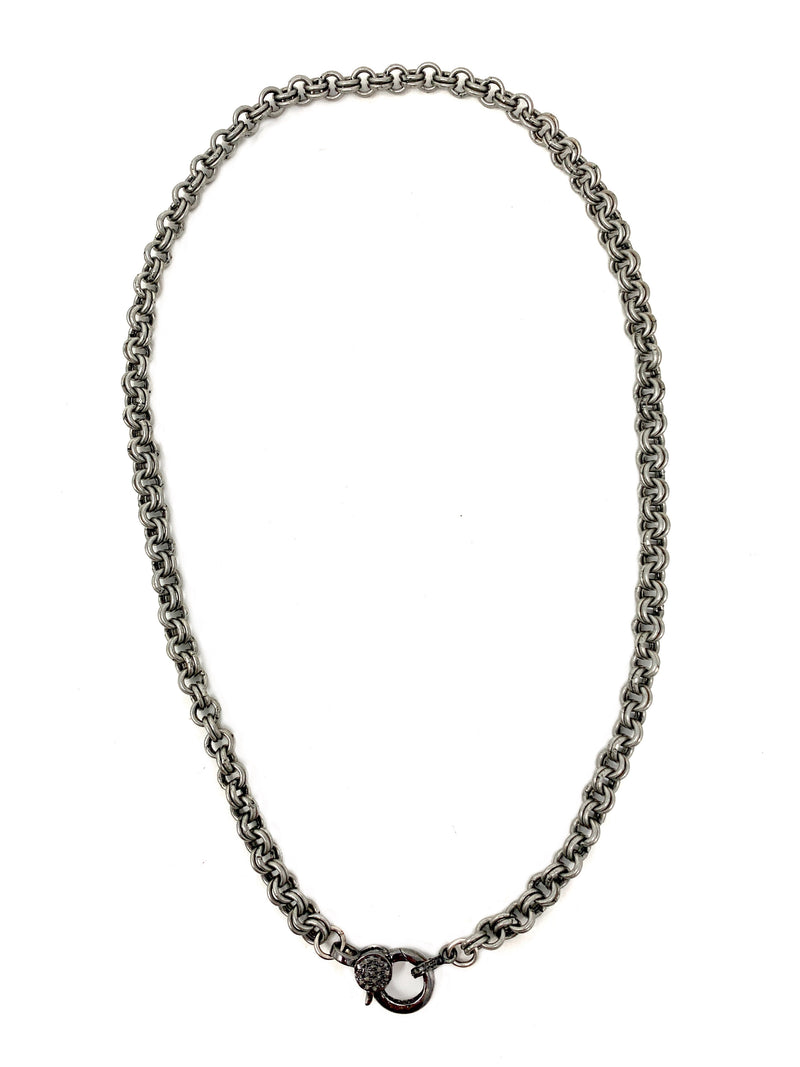 Double Antiqued Silver Rolo Chain with Diamond Accent Clasp
