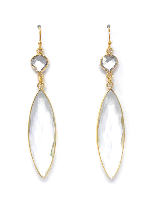 Quartz Bezel Double Drop Gold Earrings