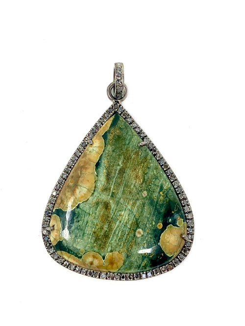 Botswana Jasper Pendant with Pave Diamond Bezel and Bail