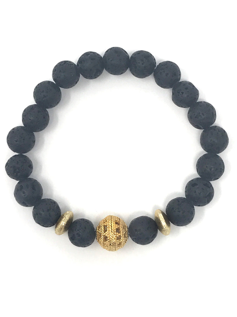 Black Lava 8mm Beads with Gold Accents Bracelet