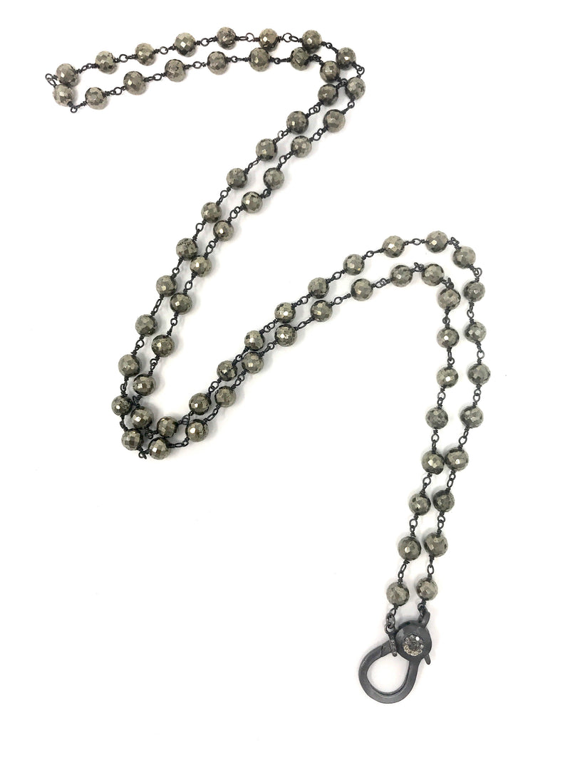 Pyrite Beaded Gunmetal Chain with Diamond Accent Clasp 36 1/2""