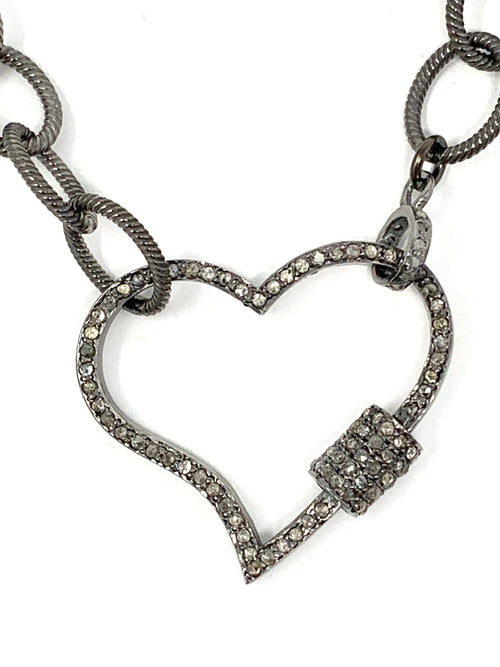 Pave Diamond Heart Carabiner On Sterling Chain Necklace
