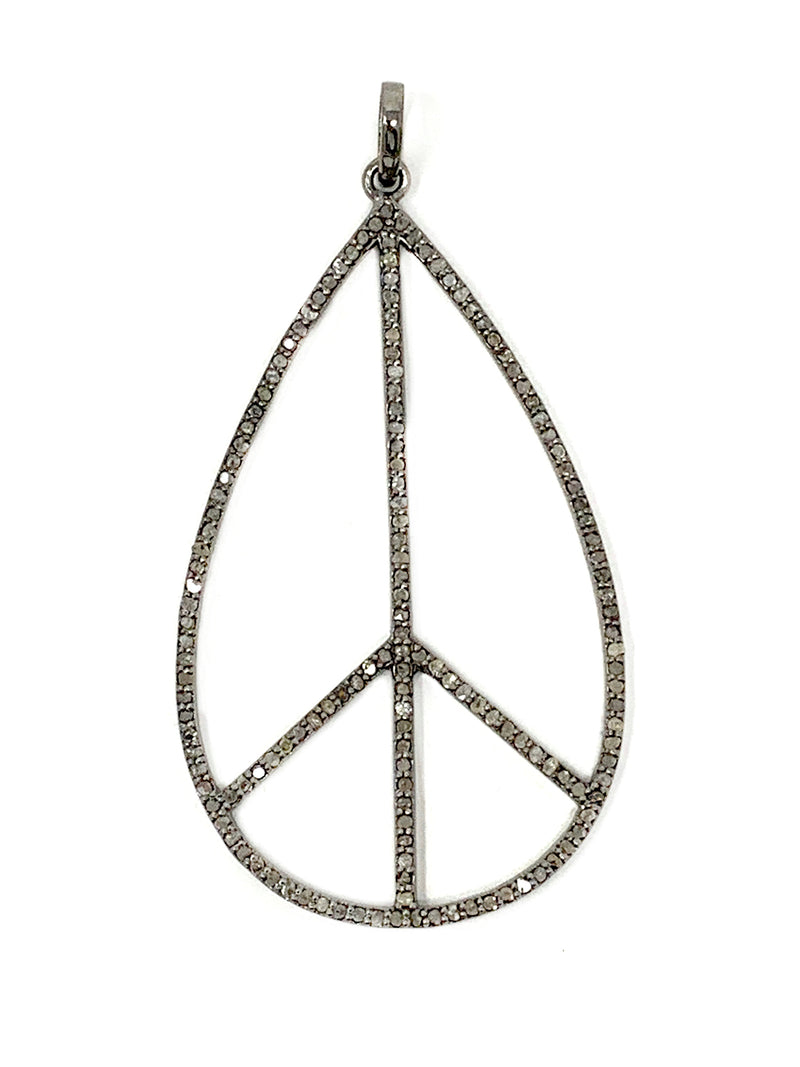 Pave Diamond Teardrop Shaped Peace Sign Pendant
