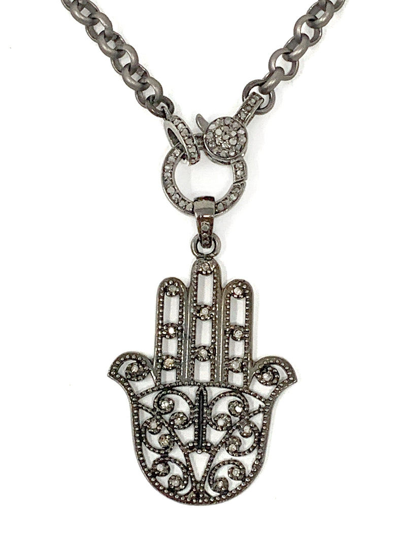 Hamsa Pendant with Diamond Accents