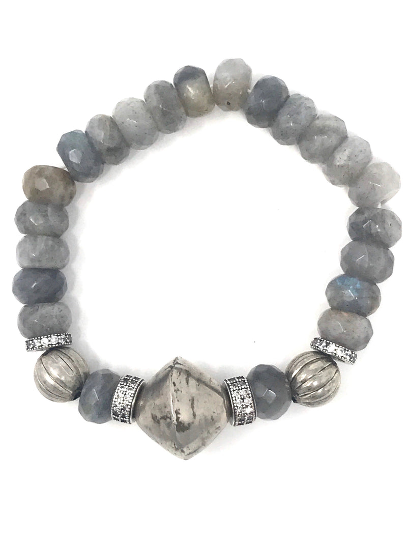 Labradorite, Pave, and African Silver Beaded Bracelet