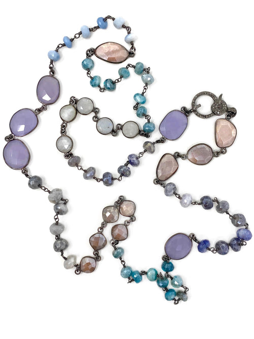 Pastel Gemstone Chain with Pave Diamond Clasp