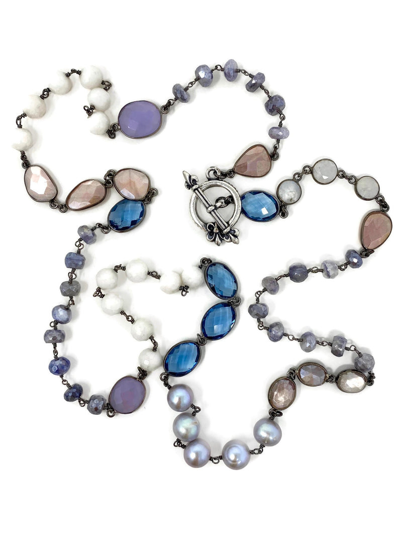 Pastel Gemstones and Pearls Chain with Decorative Toggle