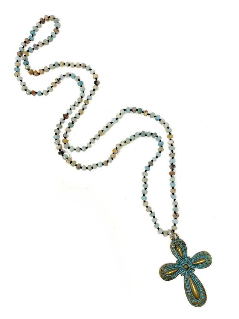 Amazonite Knotted Beads with Green Patina Brass Cross