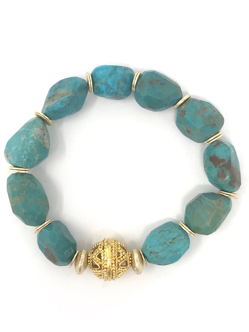 Turquoise Faceted Nugget Beaded Bracelet