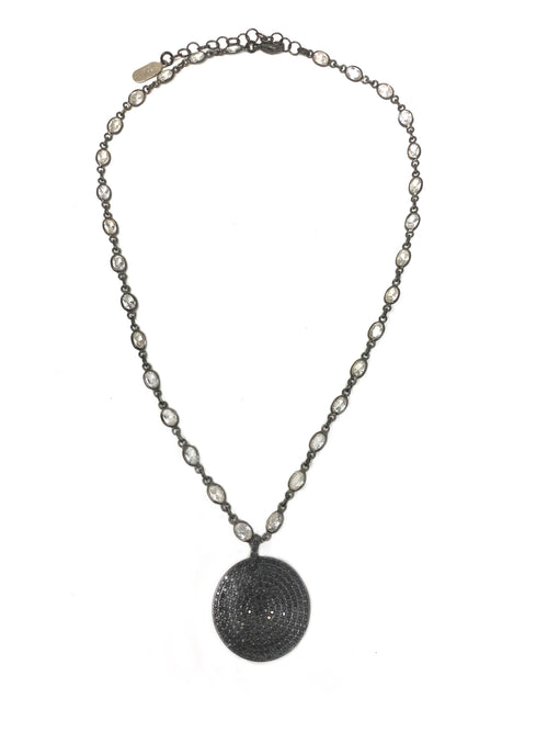 Black Cubic Zirconia (CZ) Circle Pendant on CZ Chain