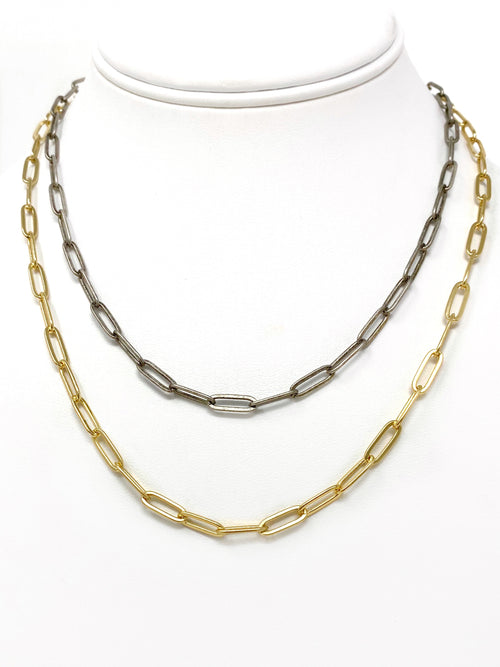 Paper Clip Chain in Gold or Antiqued Silver