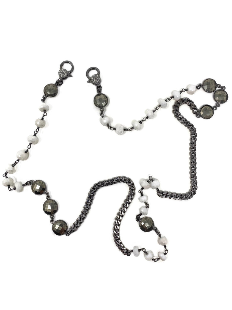 Pyrite and White Agate Curb Chain Mask Holder Necklace with Diamond Accent Clasps