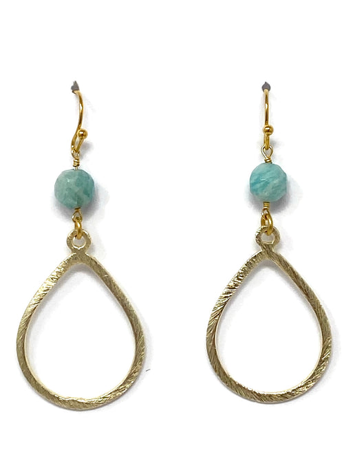 Amazonite and Gold Teardrop Earrings