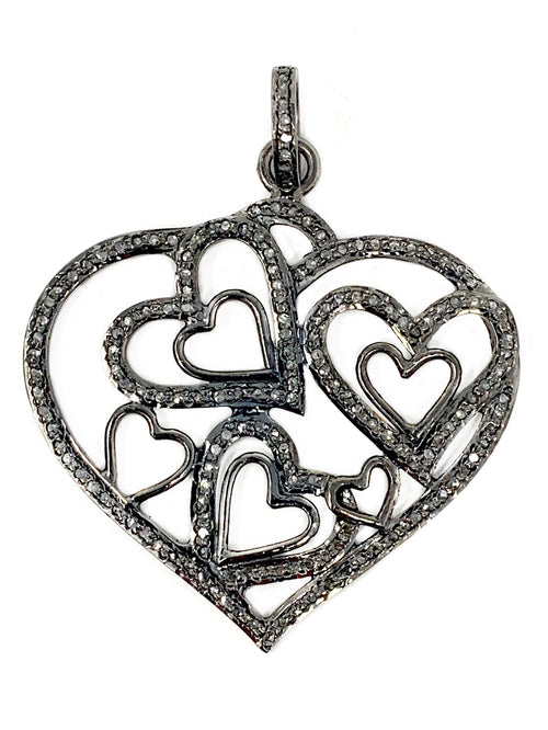 Hearts Inside Hearts  Pave Diamond Pendant