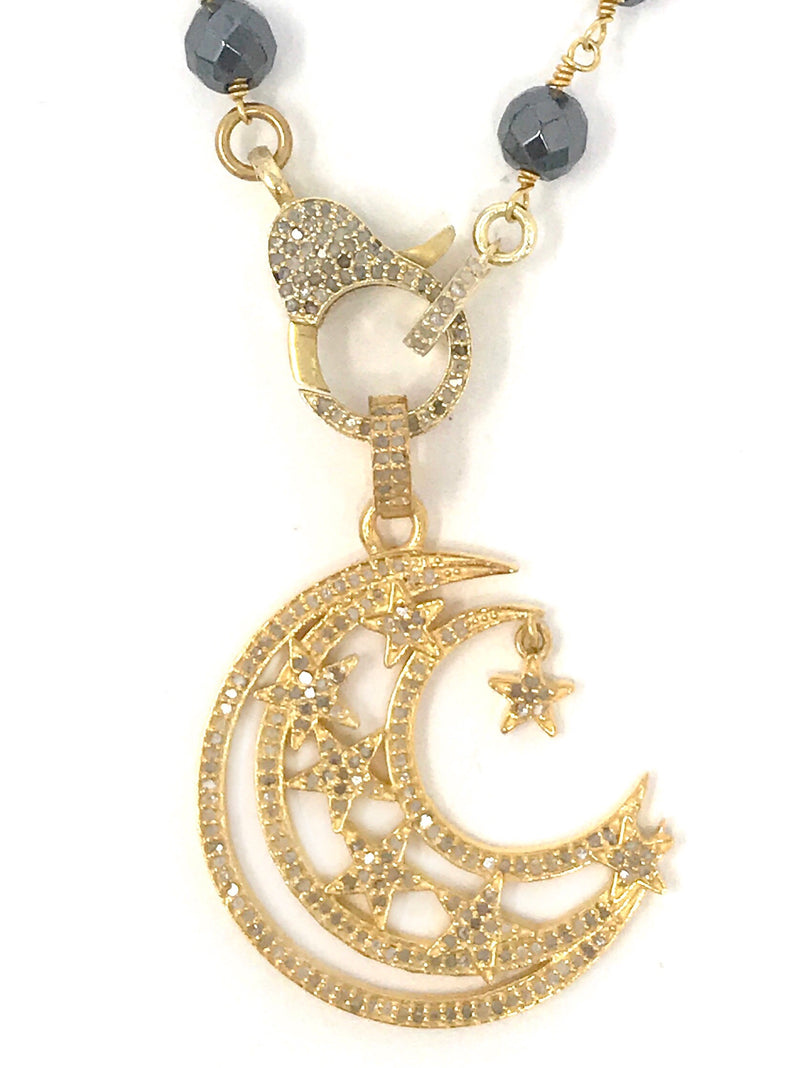 Moon and Dangling Star Vermeil Pave Diamond Pendant