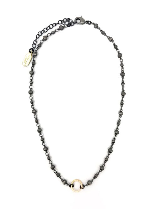Gunmetal Moroccan Ball Chain with Small Ring - Necklace