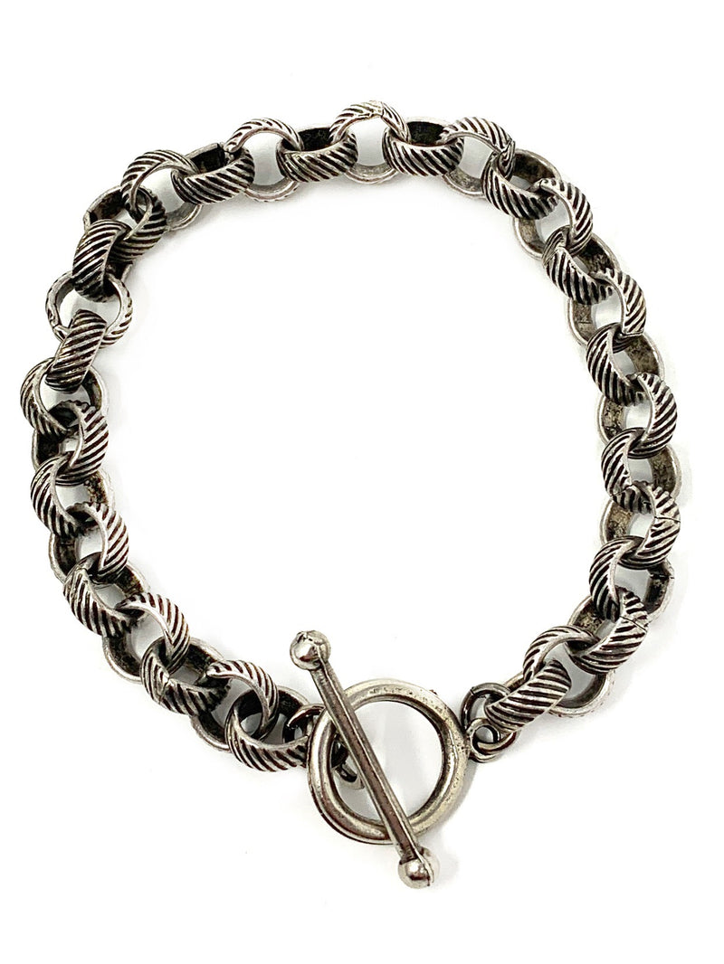 Textured Rolo Chain with Toggle - Bracelet