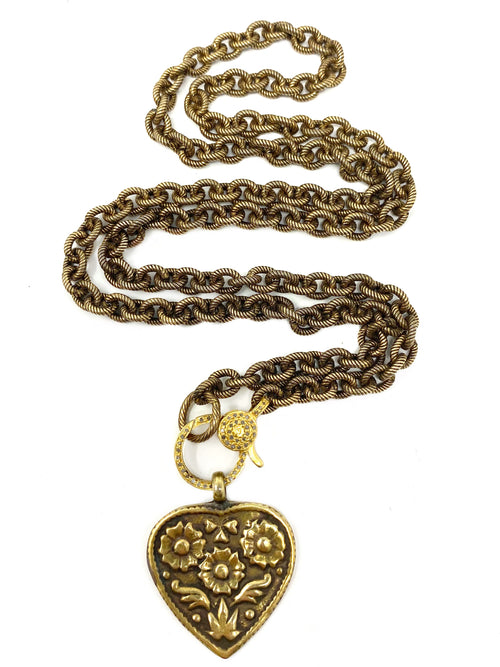 Brass Heart on Brass Chain with Pave Diamond Clasp