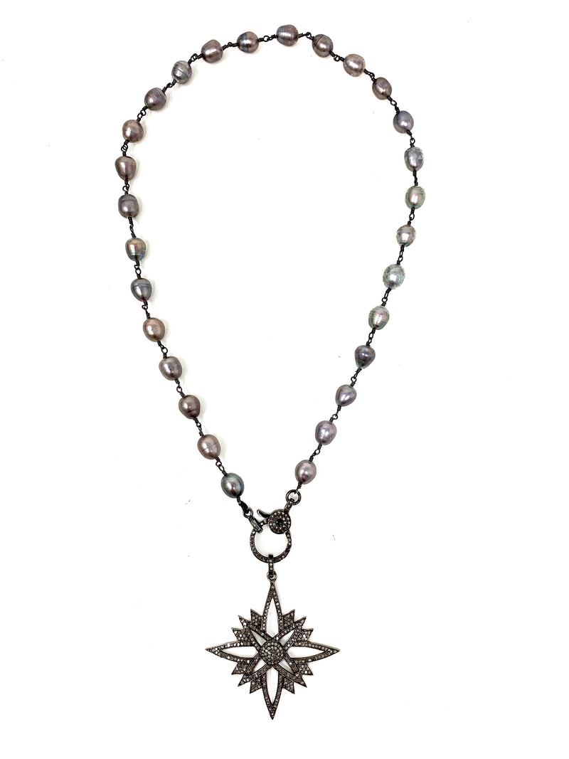 Pave Diamond Star Pendant on Silver Peacock Pearls with Diamond Clasp