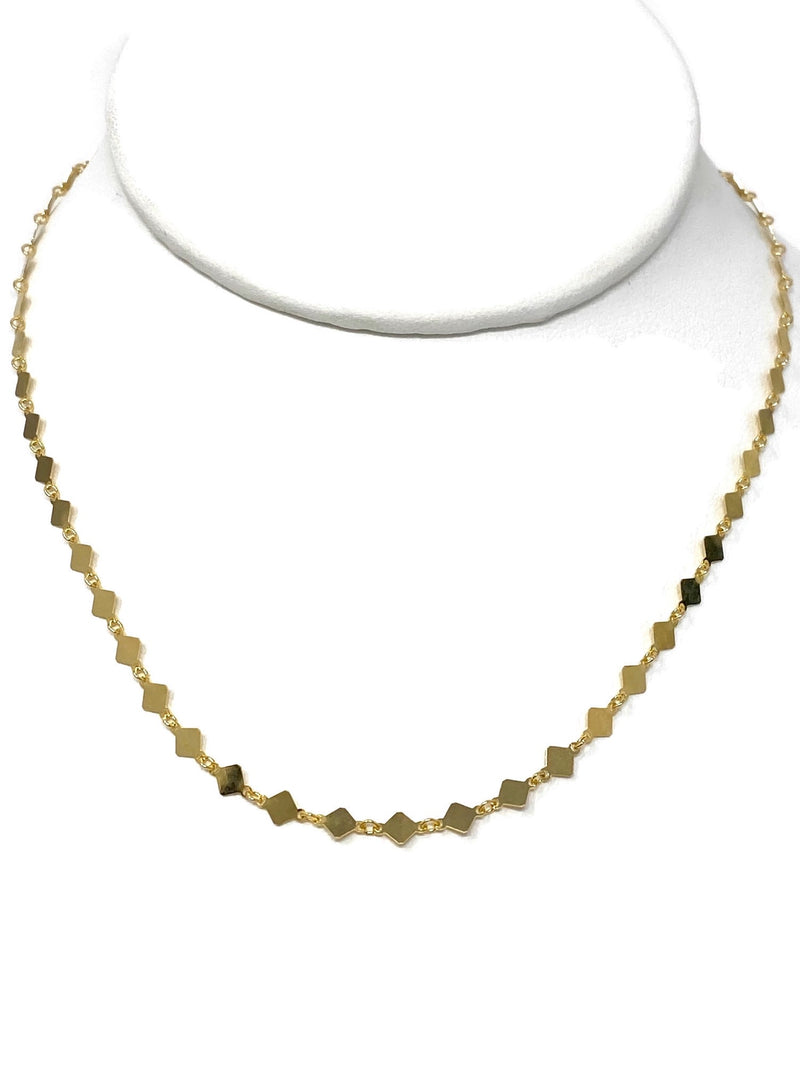 Gold Vermeil Diamond Shape Sequin Chain