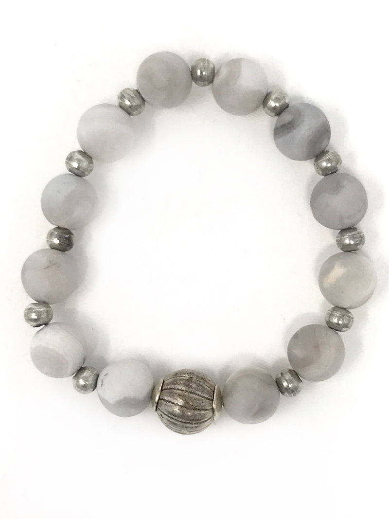 Striped Matte White Agate and Silver Beaded Bracelet