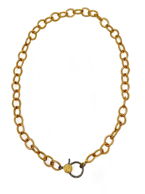 Textured Brass Chain with Two Tone Diamond Clasp