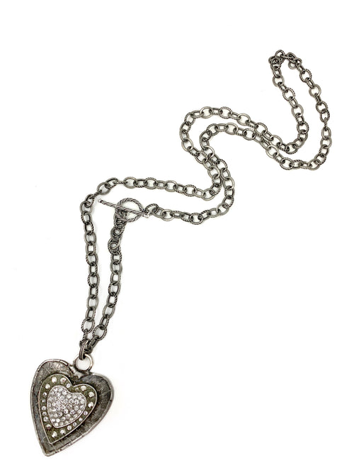 Antiqued Silver Chain Silver and Rhinestone Heart Pendant