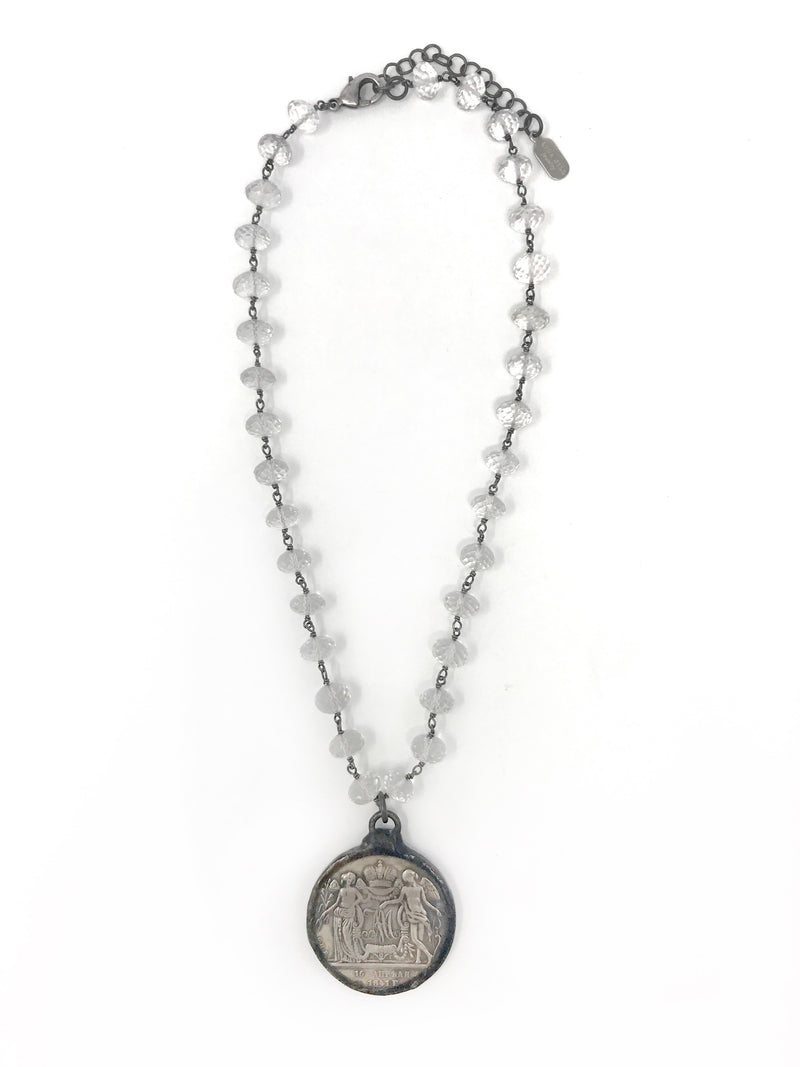 Crystal Quartz Beaded Chain with Reproduction Soldered Edge Coin - Necklace