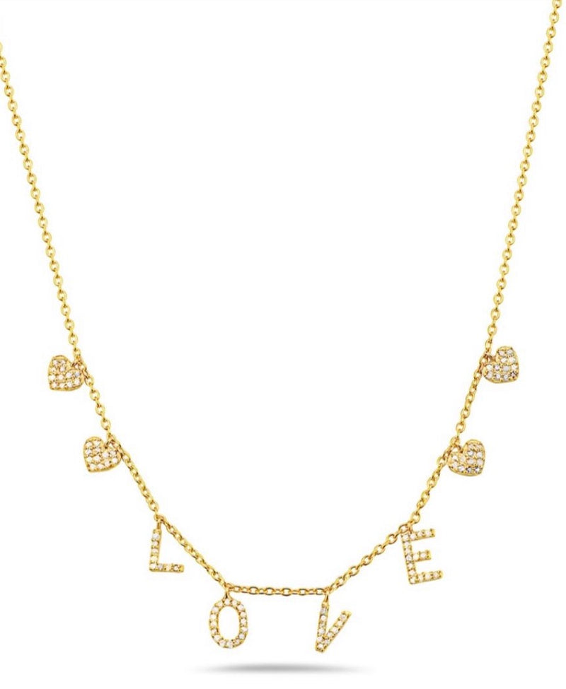 LOVE and Hearts Pave Diamond Necklace