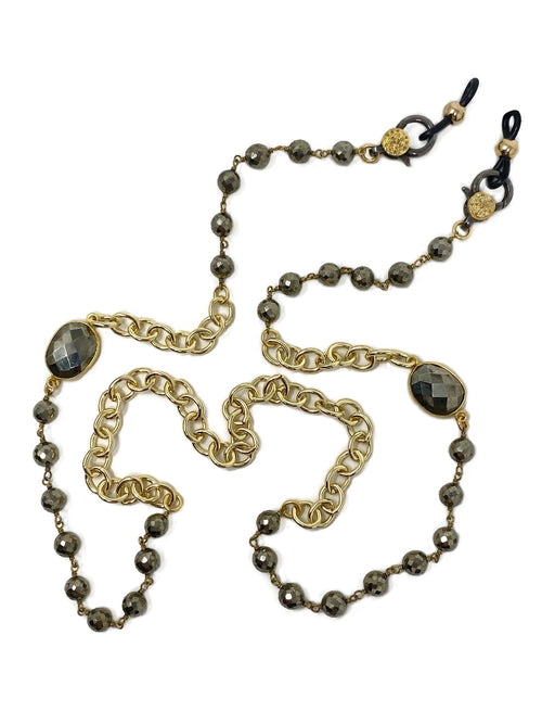 Golden Pyrite and Diamond Accent Clasp Mask/Glasses Chain Necklace and Wrap Bracelet