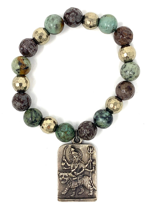 African Turquoise Beaded Bracelet with OM Charm
