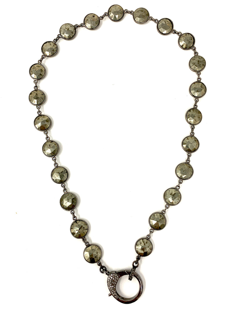 Bezel Set Pyrite Chain with Sterling and Diamond Clasp