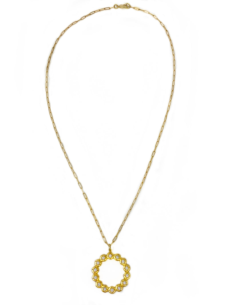 Vermeil Circle with White Sapphire Accents on Gold Filled Chain