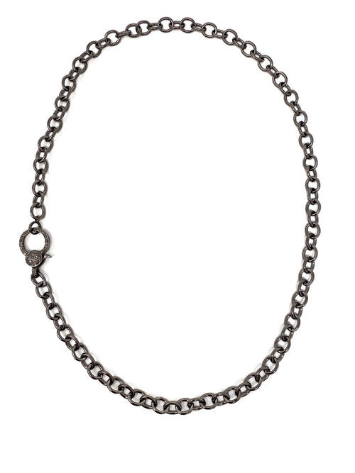 Open Link Dark Silver Chain with Pave Diamond Clasp