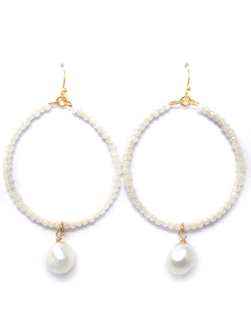 White Crystal Beaded Hoop with Freshwater Pearl Drop Earrings