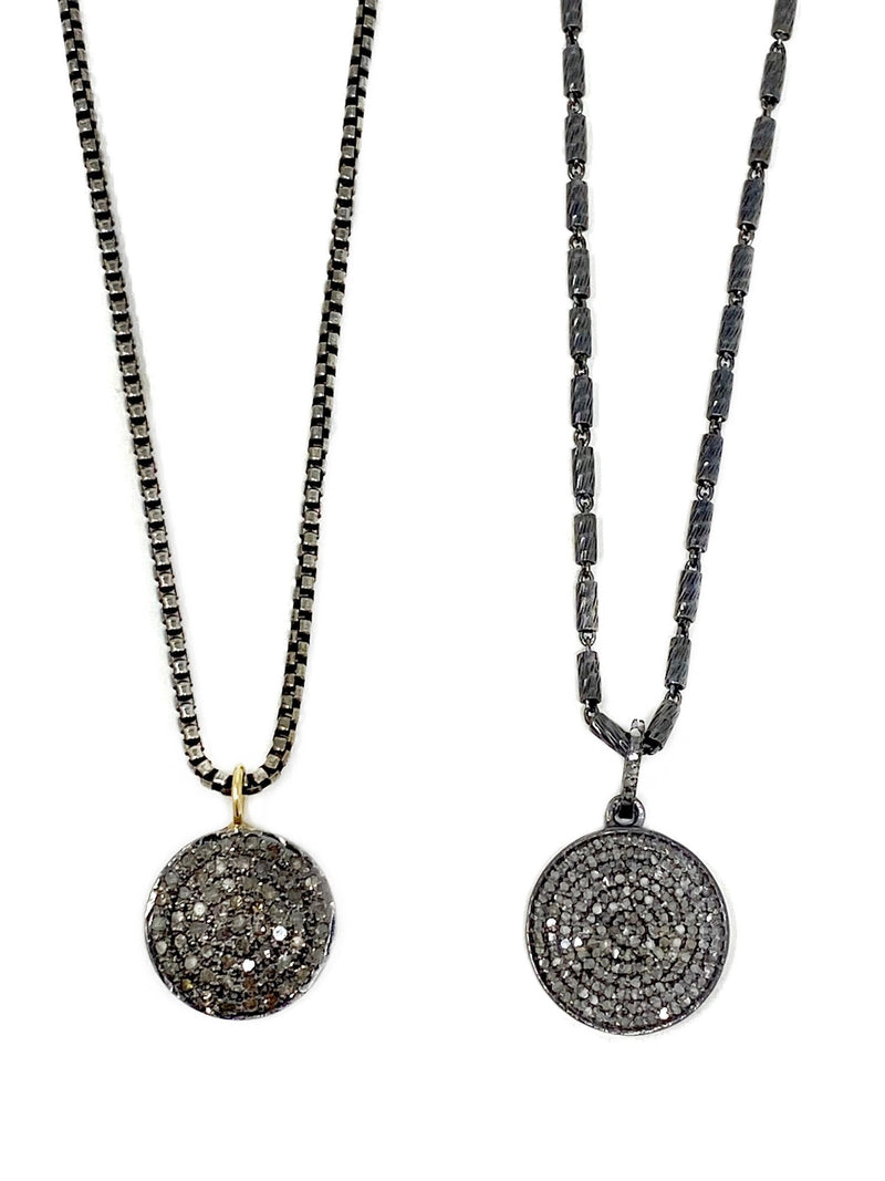 Pave Diamond Disc Pendant on Sterling Chain