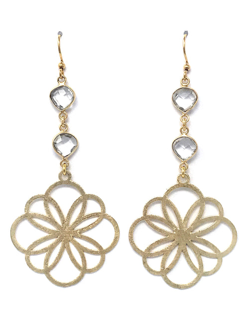 Quartz and Gold Geo Flower Drop Earrings