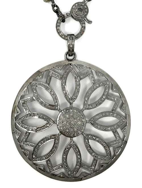 Pave Diamond Large Round Flower Pendant