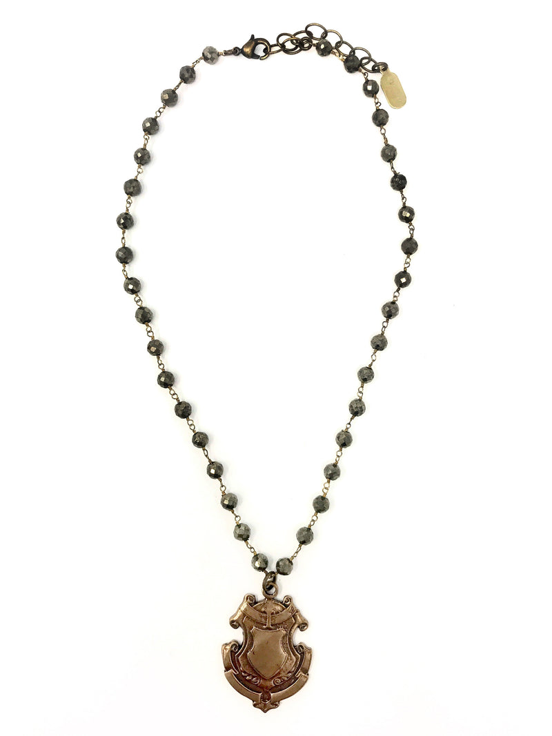 Pyrite Chain with Bronze Shield Pendant - Necklace