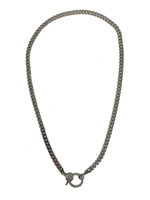 Gunmetal Curb Chain with Pave Diamond Clasp