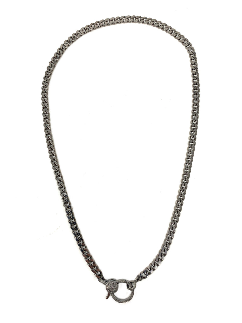 Dark Silver Curb Chain with Pave Diamond Clasp