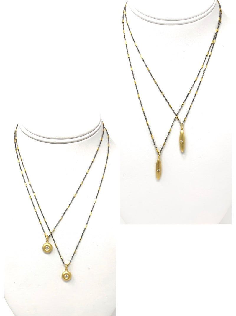 Matte Vermeil Round or Rice Shape Pendant with White Sapphire on Two Tone Sterling Chain