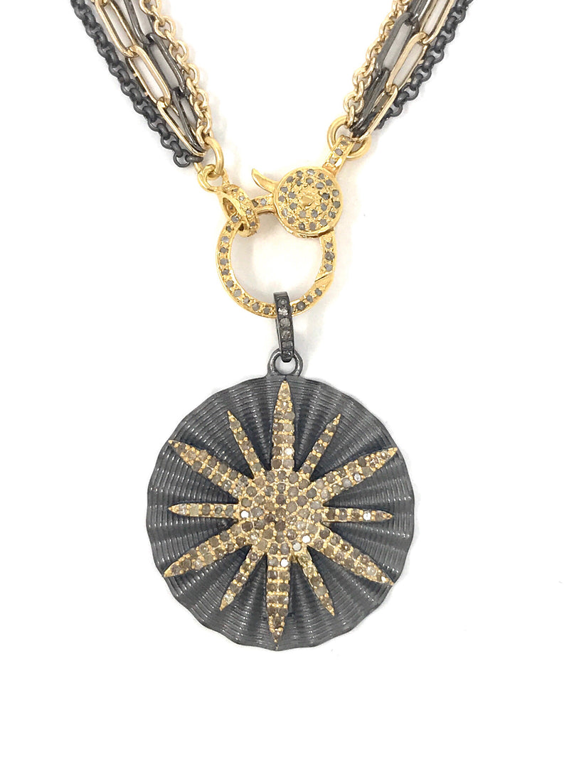 Two Tone Circle Star Pave Diamond Pendant