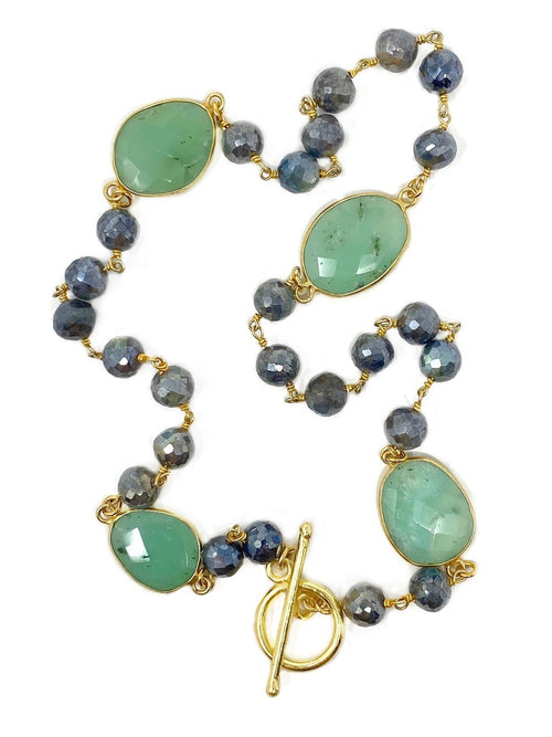 Labradorite and Chrysoprase Necklace with Toggle Clasp