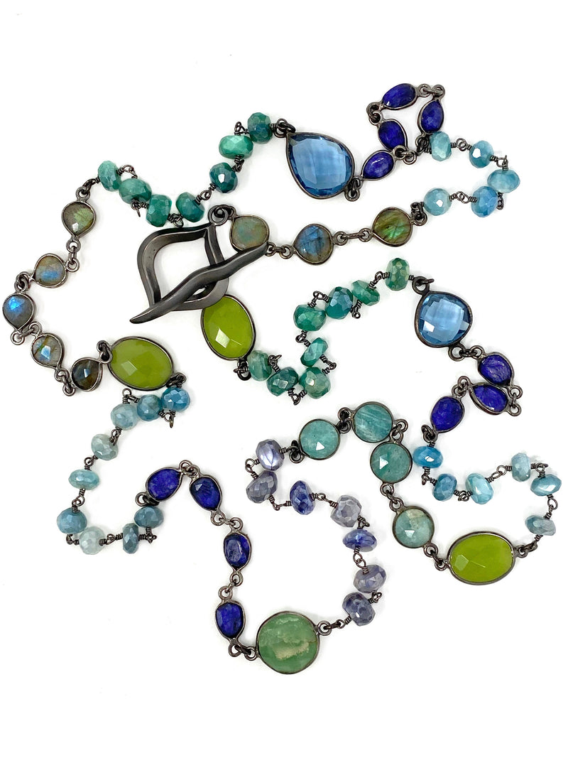 Blue and Green Gemstone Mixed Chain with Unique Toggle Clasp