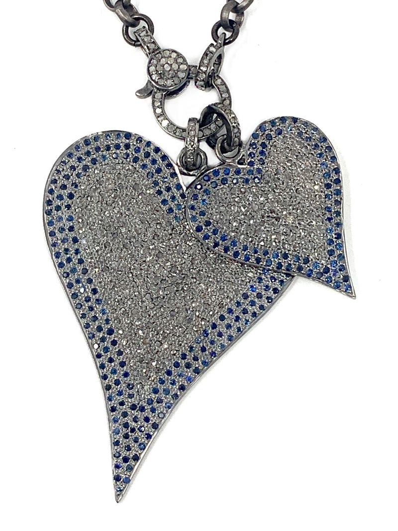 Pave Diamond and Blue Spinel Heart (2 sizes)