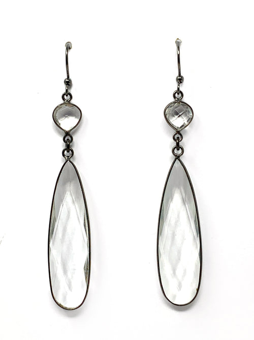 Quartz Bezel Double Drop Gunmetal Earrings