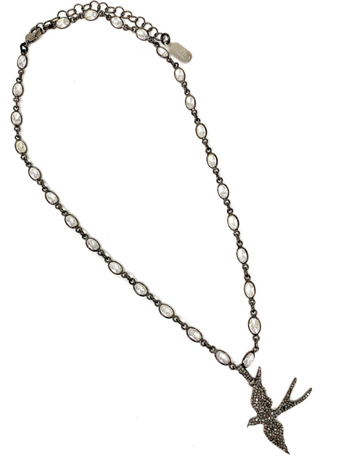 Bird Pendant in Pave Diamonds on a Cubic Zirconia Chain - Necklace