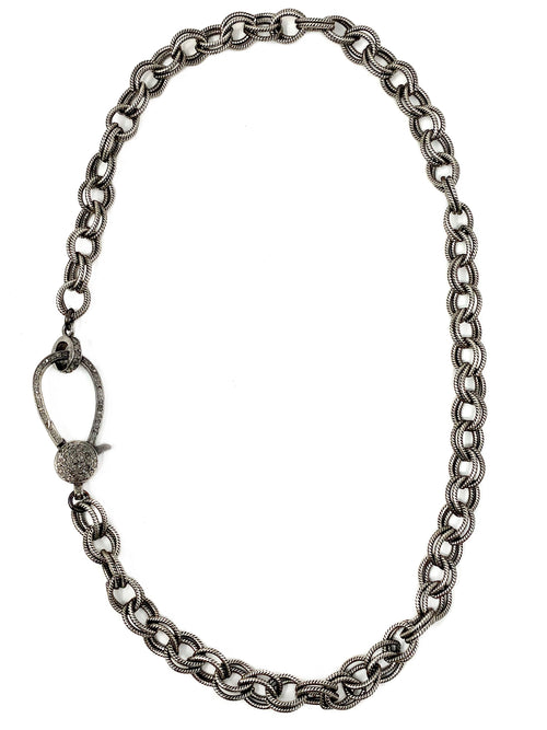 Textured Silver Chain with Large Diamond Clasp